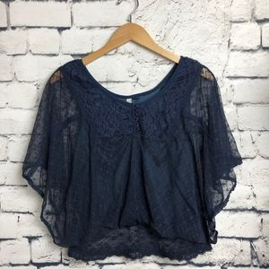Free People Lace Batwing Top